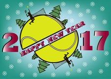 Ano novo feliz 2017 e bola de tênis Imagem de Stock