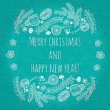 Ano novo feliz e Feliz Natal do cumprimento bonito e delicado Cartão de Natal, bandeira do ano novo com elementos dos brinquedos Imagens de Stock