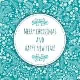 Ano novo feliz e Feliz Natal do cumprimento bonito e delicado Cartão de Natal, bandeira do ano novo Felicitações ao feriado Foto de Stock Royalty Free