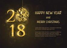 Ano novo feliz e Feliz Natal do vetor 2018 Imagem de Stock Royalty Free