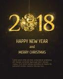 Ano novo feliz e Feliz Natal do vetor 2018 Imagens de Stock