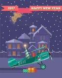 Ano novo feliz 2017 e fundo do curso do inverno Viagem a tempo das férias pelo plano O feriado presentes do saco Ilustração ilustração royalty free