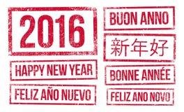 Ano novo feliz e 2016 na tinta de selos Fotografia de Stock