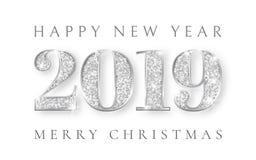 Ano novo feliz e para casar o Natal 2019, projeto de prata do cartão, Xmas dos números, ilustração do vetor ilustração royalty free