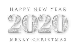 Ano novo feliz e para casar o Natal 2020, projeto de prata do cartão, Xmas dos números, ilustração do vetor ilustração royalty free