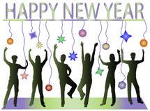 Ano novo feliz e povos felizes Foto de Stock Royalty Free