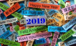 Ano novo feliz em línguas diferentes fotografia de stock