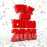Ano novo feliz 2014 em línguas espanholas Imagens de Stock Royalty Free