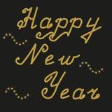 Ano novo feliz em letras principais do ouro ilustração do vetor