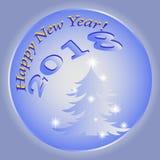 Ano novo feliz 2018 em um fundo azul fotografia de stock