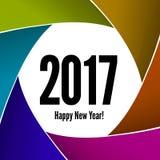 Ano novo feliz 2017 em um fundo da objetiva Fotografia de Stock