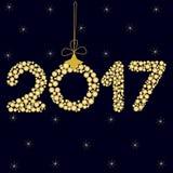 Ano novo feliz 2017 em uma obscuridade - fundo azul com estrelas zero sob a forma da bola do Natal com curva ilustração do vetor
