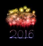 Ano novo feliz 2016 escrito com fogo de artifício da faísca Fotografia de Stock Royalty Free