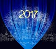 Ano novo feliz 2017 escrito com fogo de artifício e néon da faísca Foto de Stock Royalty Free