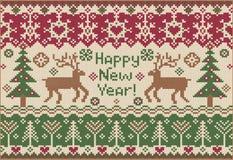 Ano novo feliz! Estilo feito malha Foto de Stock