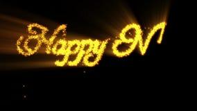 Ano novo feliz feito das partículas alaranjadas, contra o preto