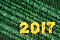 Ano novo feliz, feixe do conceito da luz e ideia colorida do número Imagem de Stock