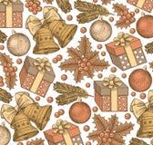 Ano novo feliz, Feliz Natal Fundo do inverno feriado Presentes, brinquedos, sinos, estilo realístico da árvore Fundo do cumprimen Fotos de Stock Royalty Free