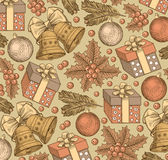 Ano novo feliz, Feliz Natal Fundo do inverno feriado Presentes, brinquedos, sinos, estilo realístico da árvore Fundo do cumprimen Fotografia de Stock Royalty Free