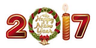 Ano novo feliz 2017 Figuras estilizados 2017 Imagens de Stock Royalty Free