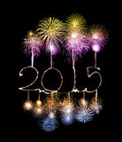 Ano novo feliz - 2015 fizeram um chuveirinho Fotografia de Stock Royalty Free