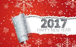Ano novo feliz 2017 Fundo com flocos de neve e papel rasgado ilustração stock