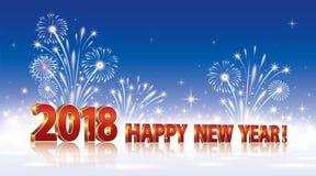 Ano novo feliz 2018 Fundo com fogos-de-artifício Ilustração Stock