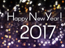 Ano novo feliz 2017! Fundo 2017 do ano novo do feriado com boke Fotografia de Stock Royalty Free