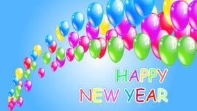 Ano novo feliz fundo do feriado com balões do voo Fotos de Stock Royalty Free