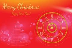 Ano novo feliz 2017 Fundo do vetor Elementos tipográficos dos desejos e do feriado de inverno no fundo do ouro Ilustração FO do c Fotos de Stock