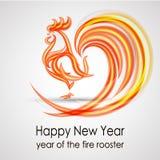 Ano novo feliz 2017 Galo do fogo Projeto de cartão Vetor EPS 10 imagem de stock