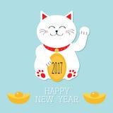Ano novo feliz Gato branco afortunado que senta e que guarda o texto dourado da moeda 2017 Gatinho chinês de Maneki Neco do japon Fotografia de Stock Royalty Free