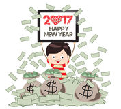 Ano novo feliz 2017 Homem de negócio bem sucedido sob a chuva do dinheiro Foto de Stock Royalty Free