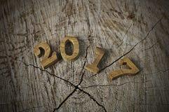 Ano novo feliz 2017, ideia de madeira do número Fotos de Stock