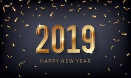 Ano novo feliz 2019 Ilustração abstrata criativa do vetor com números dourados da efervescência no fundo escuro