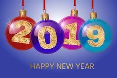Ano novo feliz 2019 Ilustração do cumprimento do vetor com números dourados Decoração do fundo Projeto de cartão Fotografia de Stock