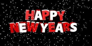Ano novo feliz Ilustração do feriado Composição da rotulação com neve Foto de Stock Royalty Free