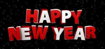 Ano novo feliz Ilustração do feriado Composição da rotulação com neve Imagem de Stock Royalty Free