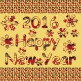 Ano novo feliz 2016 Mão decorativa do vintage decorativo tirada dentro Imagens de Stock Royalty Free