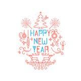 Ano novo feliz monogram Imagens de Stock
