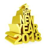 Ano novo feliz 2018 Números 3D e texto dourados em um fundo branco Fotos de Stock Royalty Free