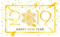 Ano novo feliz 2019 Números dourados com fitas e confetes em um fundo branco Ilustração do vetor ilustração royalty free