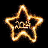 Ano novo feliz - 2014 na estrela fizeram um chuveirinho Fotografia de Stock