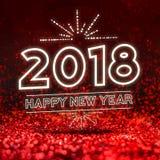 Ano novo feliz 2018 na perspectiva vermelha abstrata do estúdio do brilho ilustração do vetor
