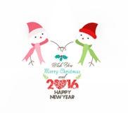 Ano novo feliz 2016, Natal vestindo do lenço do boneco de neve Fotos de Stock Royalty Free