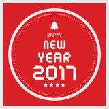 Ano novo feliz 2017 no fundo vermelho Imagens de Stock Royalty Free