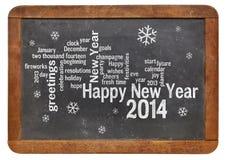 Ano novo feliz 2014 no quadro-negro Fotografia de Stock