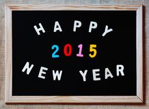 Ano novo feliz 2015 no quadro-negro Foto de Stock Royalty Free