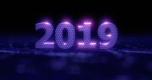 Ano novo feliz 2019 Numerais de néon azuis 2019 da ilustração do feriado em um fundo em metade-flores cinzentas com efeitos da lu ilustração do vetor
