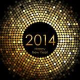 Ano novo feliz 2014 - o disco do ouro ilumina o quadro Fotografia de Stock